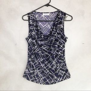Calvin Klein Cowl Neck Purple Sleeveless Blouse